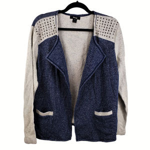 Style & Co 0X Blue Studded Cardigan Sweater NWT
